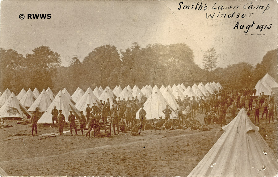 Troops Camped Out On Smiths Lawn In August 1915