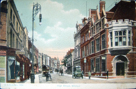tinted postcard view of Windsor High Street from the early 1900s.